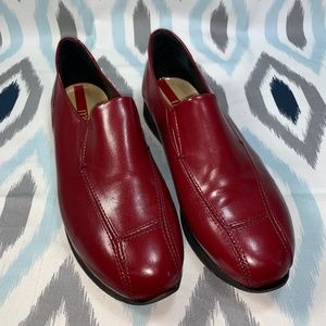Minelli Red Slip-On Leather Loafer Flats